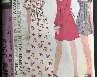 McCalls 3502 - 1970s Mini, Knee, or Maxi Length Dress with Front Tuck Detail - Size 9 Bust 31