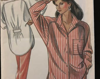 New Look 6330 - 1980s Button Front Big Shirt with Convertible Collar and Shirttail Hem - Size 8 10 12 14 16 18