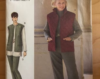 Vogue 9044 - Vest with Collar, Top with Side Slits and Turtleneck, and Pants - Size 14 16 18