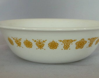 Pyrex Butterfly Gold soup or cereal bowls , vintage replacement bowls