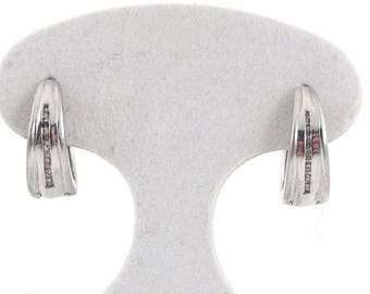 14k White Diamond Huggie Earrings - White Gold Diamond Hoops