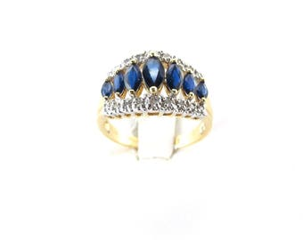 14k Yellow Gold Diamond And Sapphire Ring, 14k Gold Diamond And Sapphire Band, Gemstones Ring