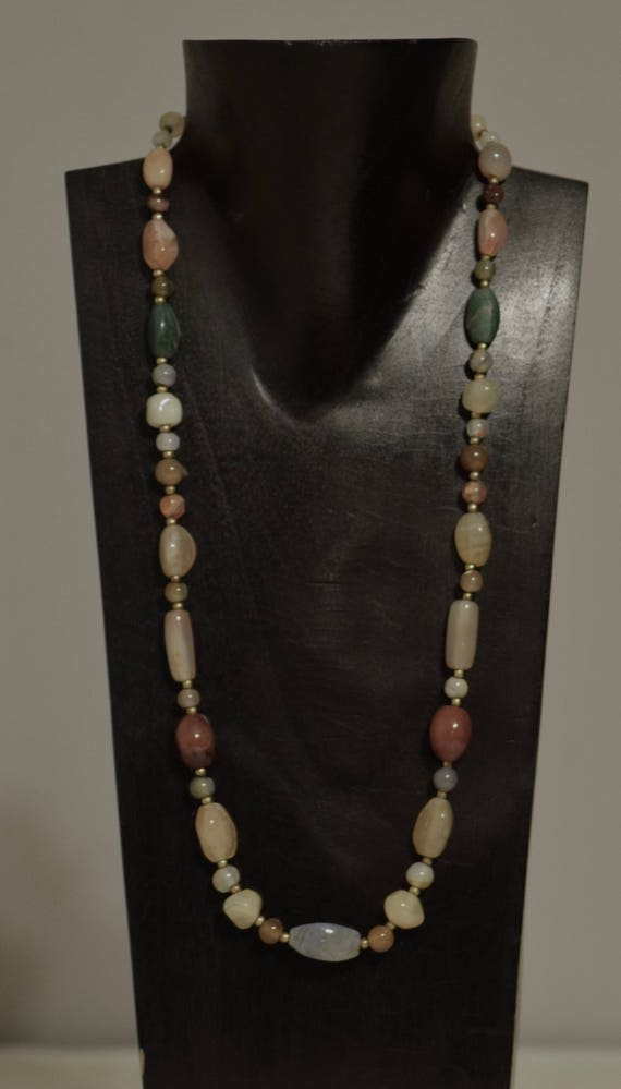 Necklace Chinese Agate Stones Handmade Jewelry Yellow Orange Green Agate Stone Beads Gold Spacer Neckace