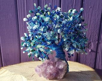 Malachite Gem Tree, Blue Lace Agate, Lapis Lazuli Chips, Amethyst Cluster, Green Aventurine, Crystal Healing, Gemstone Decor, Spiritual