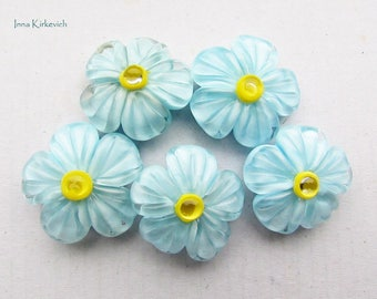 Forget-me-not lampwork beads, 1 pc handmade lampwork beads, floral lampwork bead, buttercup glass flower beads, blue glass lampwork beads