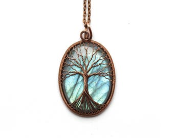 Labradorite-pendant Tree-of-Life necklace pendant Labradorite-necklace Labradorite-jewelry Protection necklace Wire wrapped copper necklace
