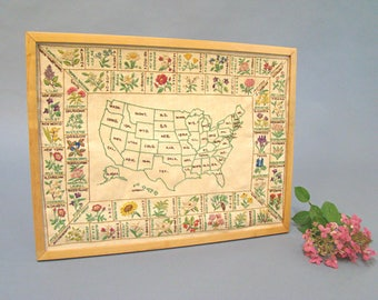 Reserved For Whitney Vintage Embroidery Usa State Flowers United States Us