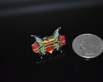 "Vintage ""Stewed, Screwed & Tattooed"" Butterfly Lapel Pin"