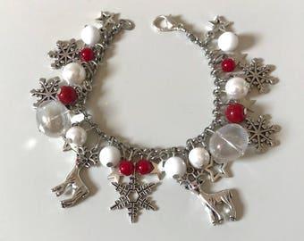 Adjustable Christmas bracelet, snow bracelet, reindeer bracelet, red bracelet, winter bracelet, winter wonderland bracelet