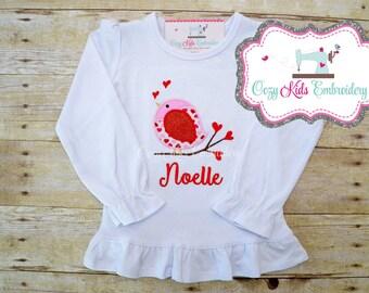 Valentine's Day shirt boy girl child kid baby toddler infant custom personalized monogram name bird branch heart love