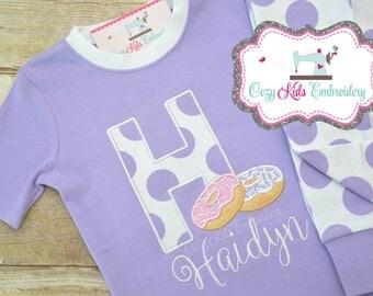 Birthday pajamas, Donut pajamas, Doughnut pajamas, girl pajamas, boy pajamas, girl pj, boy pj, spring pajamas, spring pj