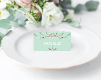 Mint and Coral Place Cards