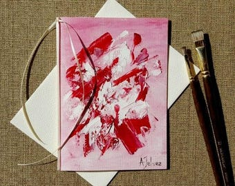 """Original art Hand made card Birthday card Colorful art card Original abstract painting on canvas paper Abstract art Pink oil painting 5x7"""""""