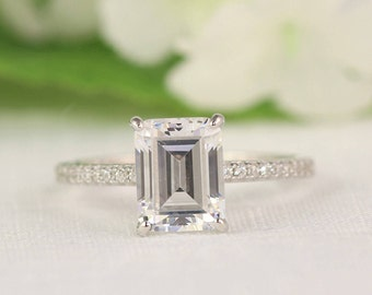 Emerald Cut Engagement Ring - Solitaire Ring - Prong set engagement Ring - Silver Engagement Ring (3 Carat Center)