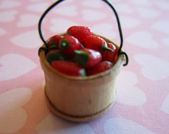 1/12th scale miniature Strawberry Basket