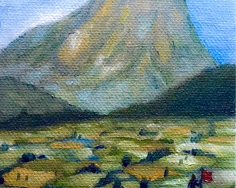 Origin Oil Painting, Mount Painting, Small Painting, Painting of Countryside, Canvas Painting, Small Canvas Painting, Mini Oil Painting