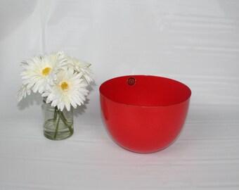 Vintage Orange Wartsila Enamel Bowl-Large