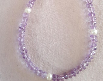 Light purple amethysts with freshwater pearls
