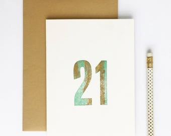21st Birthday Letterpress Card