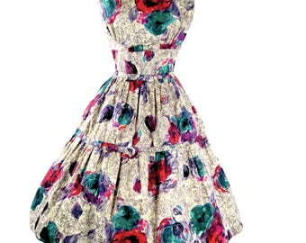 Original 1950's Pink & Turquoise Floral Cotton Dress - 50s Dress