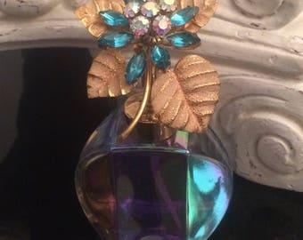 Vintage Irice West German Perfume Bottle - Rhinestone Flower Topper / Irice Iridescent Glass Atomizer Bottle / Vanity Dresser Bottle