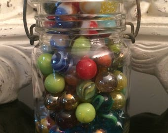 Vintage Marble Collection in Mason Jar 130pcs. / Jar Full of Vintage Glass Marbles / Vintage Games and Toys / Collectable Marbles