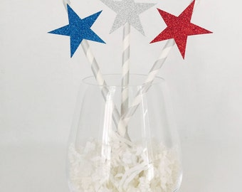 12 Fourth of July Party Straws - Stars - USA - America - Patriotic - Memorial Day - BBQ - 1776 - Red, White and Blue - Striped - Glitter
