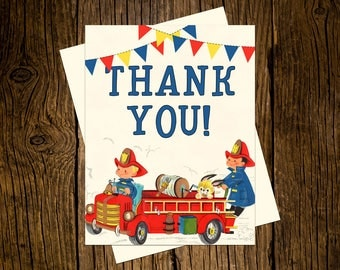Fire Truck Thank You Note Cards Custom Printed Handmade Stationery Set of 12 Red Blue Vintage Ecru Firefighter Fireman