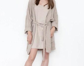 Linen, Linen robe, Linen bath robe, Linen bath gown, Flax robe, Womens robes, linen gown, Sauna robe, Stonewashed linen robe, Unisex robe