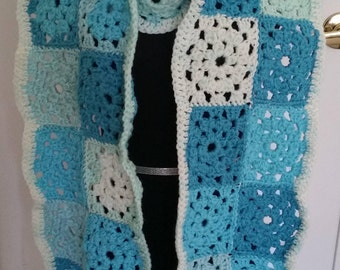 Granny Square Scarf, Winter Scarf, Extra Long Scarf, Crochet Scarf, Scarf, Granny Squares