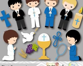 Boys First Communion Digital Clip Art, First Communion Clip Art, First Communion Boys Digital Clipart, Boy First Communion Clip Art, 0191
