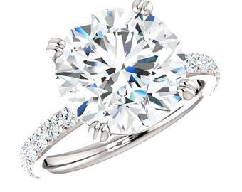 5 Carat Round Cut Forever One Moissanite & 2mm Diamond Engagement Ring, Moissanite Rings, Custom Jewelry, Handmade Rings, 5ct Rings, 11mm