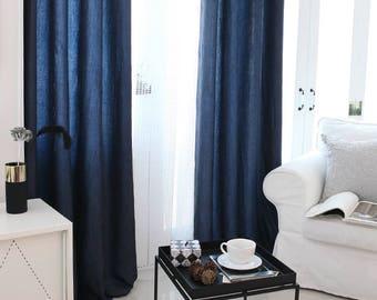 Navy Natural Creased Curtain Drapery Panel