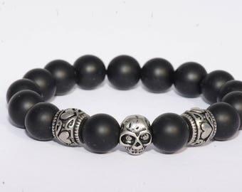 Steel/steel/Agate heart skull bracelet