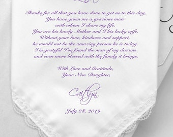 Mother of Groom Gifts-Personalized Wedding Handkerchiefs Gifts -Printed Hankies-Custom Prints Hanky-MOG Gifts With Free Gift Box/Code:HY1141