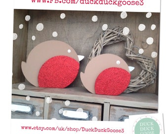 Christmas Robin Set of 2 Freestanding Decorations by Duck Duck Goose