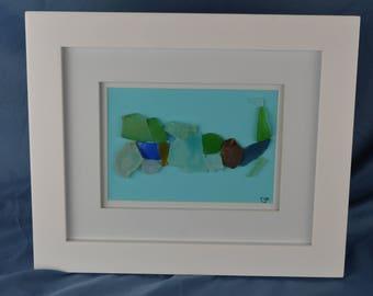 Seaglass Cape Cod, MA, 10in x 12in framed seaglass art, coastal beach house decor, wall art, gift, beach lovers gift