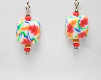 Polymer flame earrings-A401