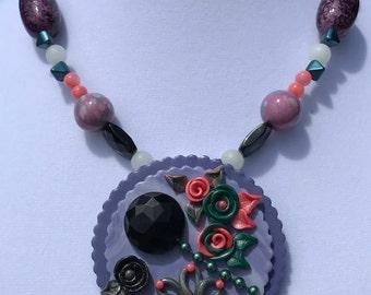 Victorian Pendant Necklace // 80s Necklace // Lavender Purple Necklace // Polymer Clay Pendant Pearl Rose Necklace // Vintage Button Pendant