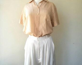 Vintage cream 100% silk pleated pants new old stock