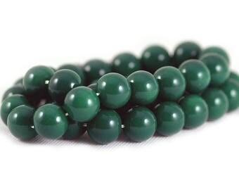 Czech Style Smooth Round Glass Druk Beads Opaque Dark Green 10mm