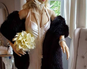 Luxury Vintage Black Fox Stole - Natural Black Fur Stole - Wedding Fur Shawl -Great Gatsby style - Real Fox Fur - Hollywood Starlet
