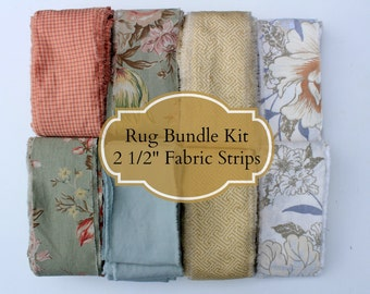 "Toothbrush Rug Starter Kit Earthtone Salmon/Amish Knot Rag Rug Kit/DIY rug/Toothbrush Rag Rug Fabric/2.5"" poly cotton blend fabric strips"