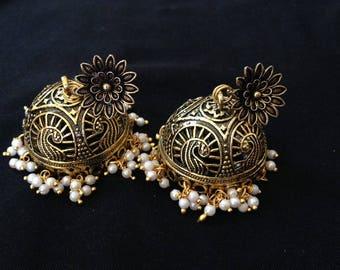 Big Jhumkas, antique gold bollywood earrings, gold jhumki, big bollywood earrings, paisley earrings, jumbo jhumka, Large Jhumkas, bollywood