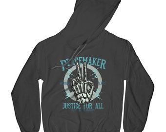 Peace hoodie peacemaker hoodie bones hoodie skeleton hoodie justice hoodie old school hoodie hipster hoodie   APV68