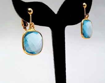 Blue Topaz & Gold Clip On Earrings