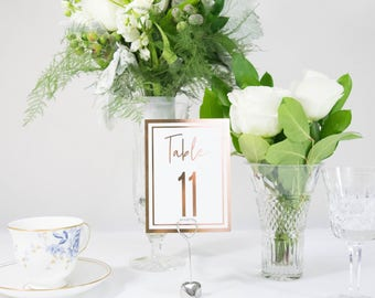White Ivory and Rose Gold Double Border Foil Table Numbers Handmade Wedding