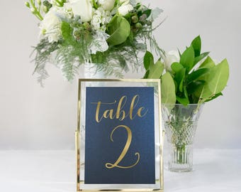 Navy Blue and Gold Foil Table Numbers Custom Handmade Wedding 5x7 also in Rose Gold, Copper, or Silver Foil #0134