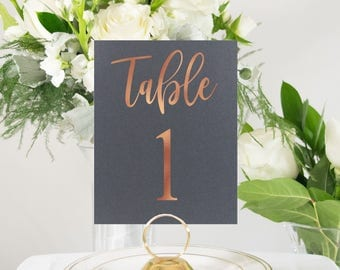 Copper Foil & Gray Table Numbers Handmade Wedding, also in Rose Gold, Silver, and Gold Foil #0137