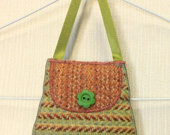 Welsh tweed lavender bag, lavender sachet in lime green & orange with green ribbon handle